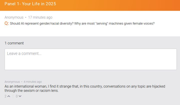 An anonymous response to the question about female voices criticized the author for bringing up sexism and racism.
