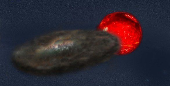 Illustration of binary star system that produces the longest-duration eclipses ever observed.