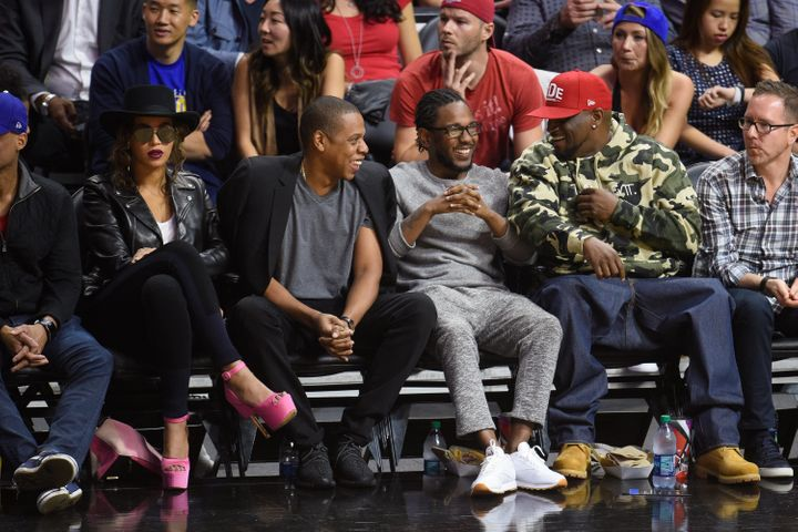 Beyoncé, Jay Z, Kendrick Lamar and Anthony Tiffith at thegame.