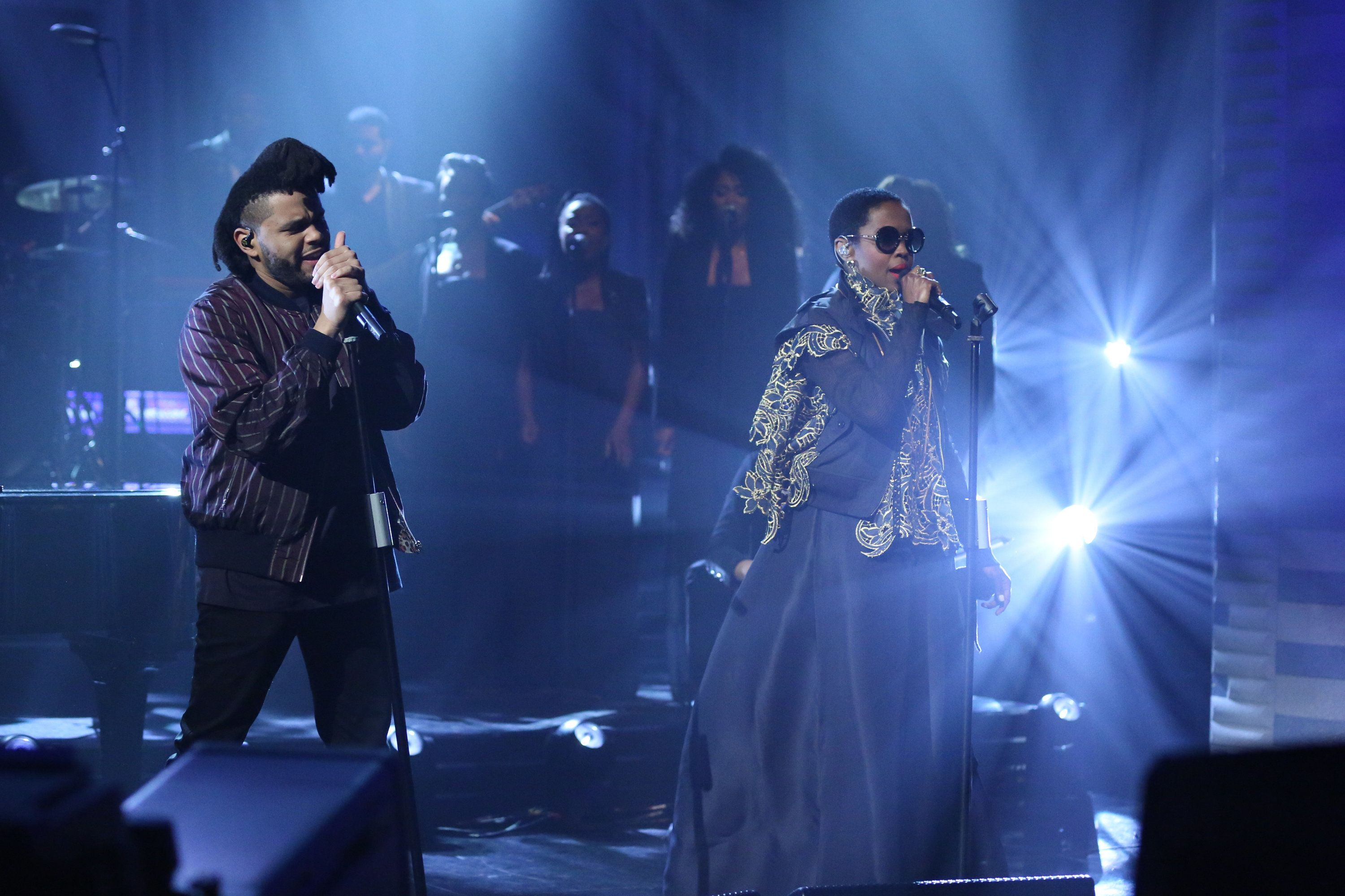 THE TONIGHT SHOW STARRING JIMMY FALLON -- Episode 0421 -- Pictured: (l-r) Musical guest The Weeknd performs with Ms. Lauryn Hill on February 19, 2016 -- (Photo by: Andrew Lipovsky/NBC/NBCU Photo Bank via Getty Images)