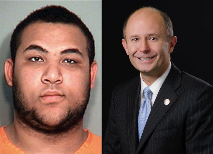 Izaha Akins, 18 (left), is facing felony fraud charges after allegedly posing as the replacement for state Sen. David Burke (right).