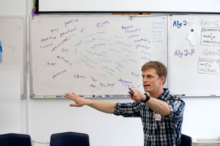 Eric Barthold gives his Man Up and Open Up presentation to students in Vermont. (Photo credit: Geoff Hansen Photography)