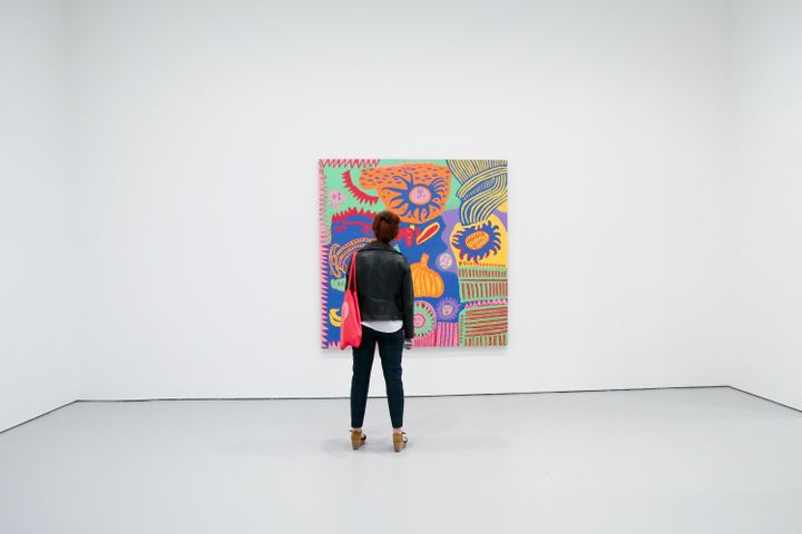 This is actually me, looking at a Yayoi Kusama painting, at an art gallery.