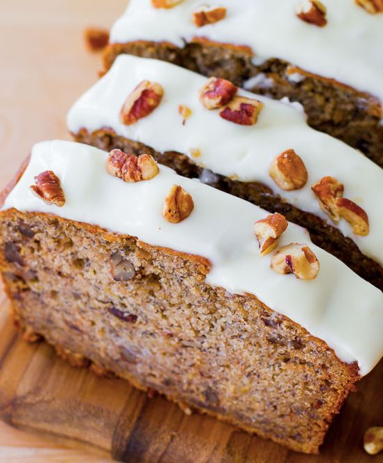 "<strong>Get the <a href=""http://sallysbakingaddiction.com/2013/05/29/best-ever-banana-bread-with-cream-cheese-frosting/"" targ"