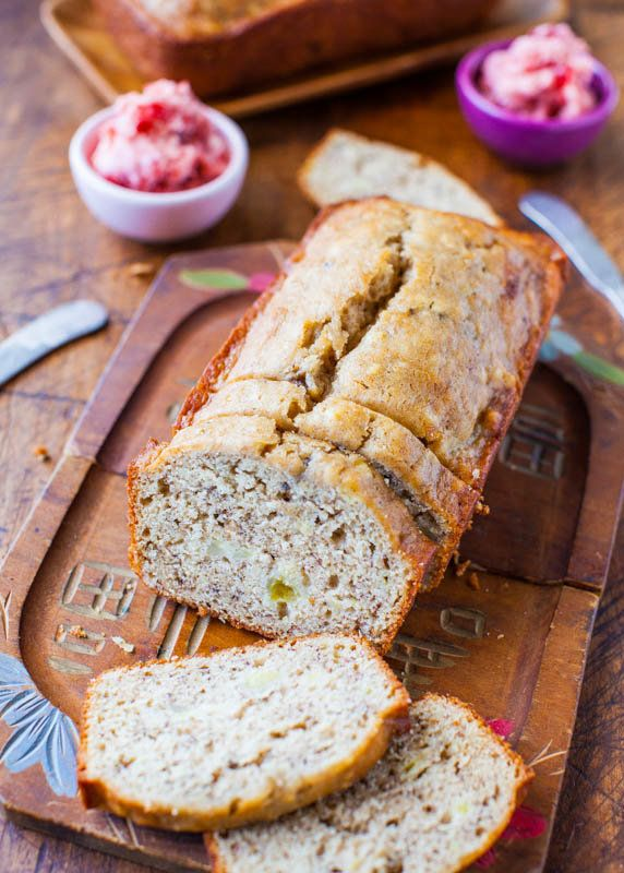 "<strong>Get the <a href=""http://www.averiecooks.com/2013/02/browned-butter-buttermilk-banana-bread-with-strawberry-butter.htm"