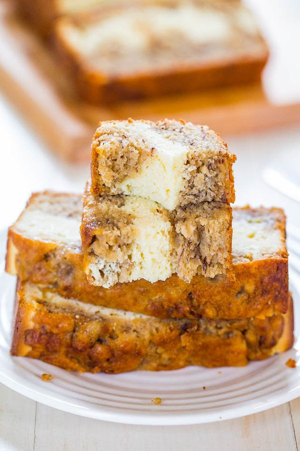"<strong>Get the <a href=""http://www.averiecooks.com/2014/07/cream-cheese-filled-banana-bread.html"" target=""_blank"">Cream Chee"