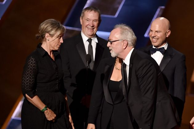 Actress Frances McDormand and producers David Coatsworth, Gary Goetzman and Steve Shareshian accept the...