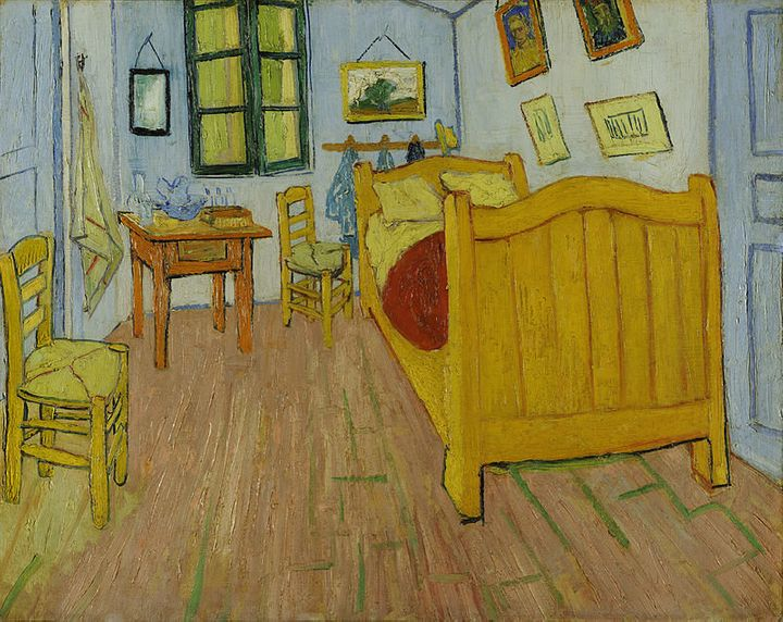 "The first version of Vincent van Gogh's ""Bedroom in Arles,"" created in October of 1888. (Oil on canvas, 72 x 90 cm, Van Gogh"