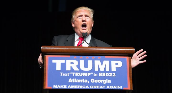 Republican presidential candidate Donald Trump speaks during a campaign rally on Feb. 21, 2016, in Atlanta. Trump won th