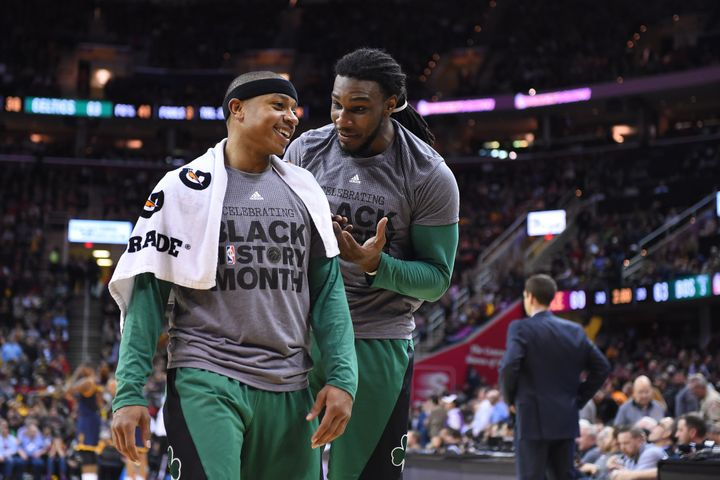 Isaiah Thomas (left), averaging 22 points and 7 assists, alongside Jae Crowder, who has become one of the best values at forw