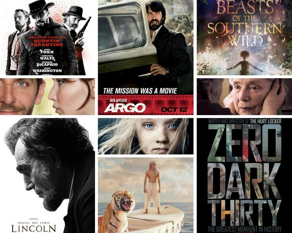 "<strong>Nominees:&nbsp;</strong>""Amour,"" ""Argo,"" ""Beasts of the Southern Wild,"" ""Django Unchained,"" ""Les Mis&eacute;rables,"""