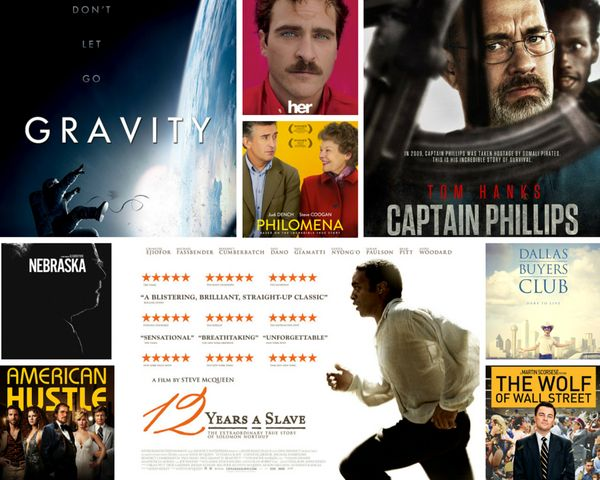 "<strong>Nominees:&nbsp;</strong>""12 Years a Slave,"" ""American Hustle,"" ""Captain Phillips,"" ""Dallas Buyers Club,"" ""Gravity,"" """
