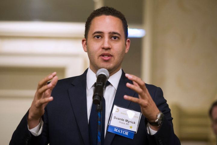 Svante Myrick, mayor of Ithaca, New York, speaks during at the U.S. Conference of Mayors Winter Meeting in Washington, D.C.,