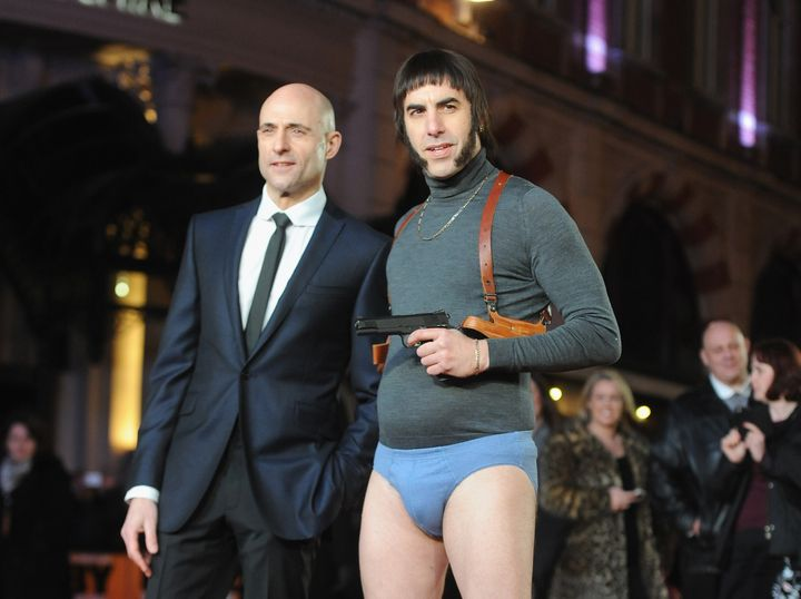 "Mark Strong and Sacha Baron Cohen attend the World premiere of ""Grimsby"" at Odeon Leicester Square on Feb. 22, 2016 in London"
