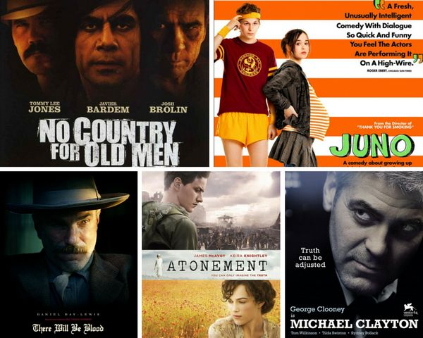 "<strong>Nominees:&nbsp;</strong>""Atonement,"" Juno,"" ""Michael Clayton,"" ""No Country for Old Men"" and 'There Will Be Blood""<br>"