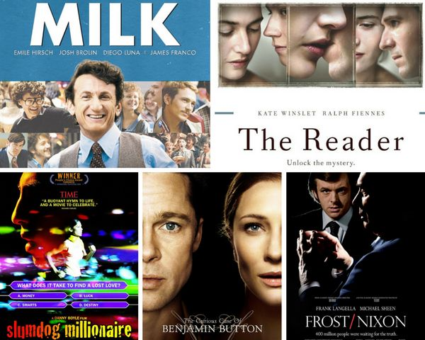 "<strong>Nominees:&nbsp;</strong>""The Curious Case of Benjamin Button,"" ""Frost/Nixon,"" ""Milk,"" ""The Reader"" and ""Slumdog Milli"
