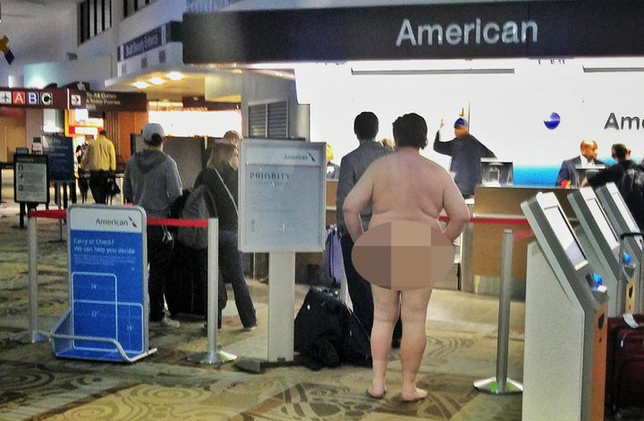 A man was photographed walking around the Nashville airport in the buff on Sunday.