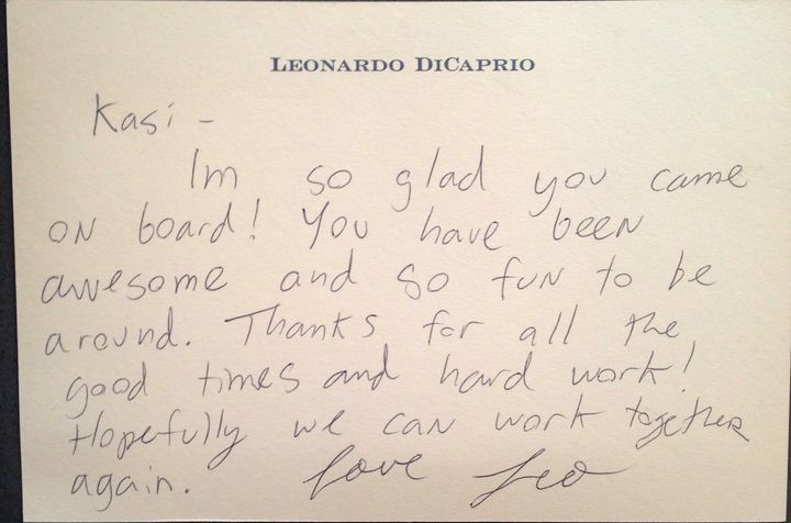A note Leonardo DiCaprio gave his assistant, Kasi Brown.