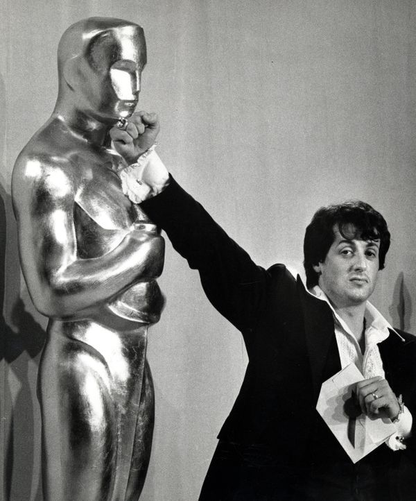 "Sylvester Stallone at the 1977 Academy Awards presentation. His film, ""Rocky,"" received the Best Picture award."