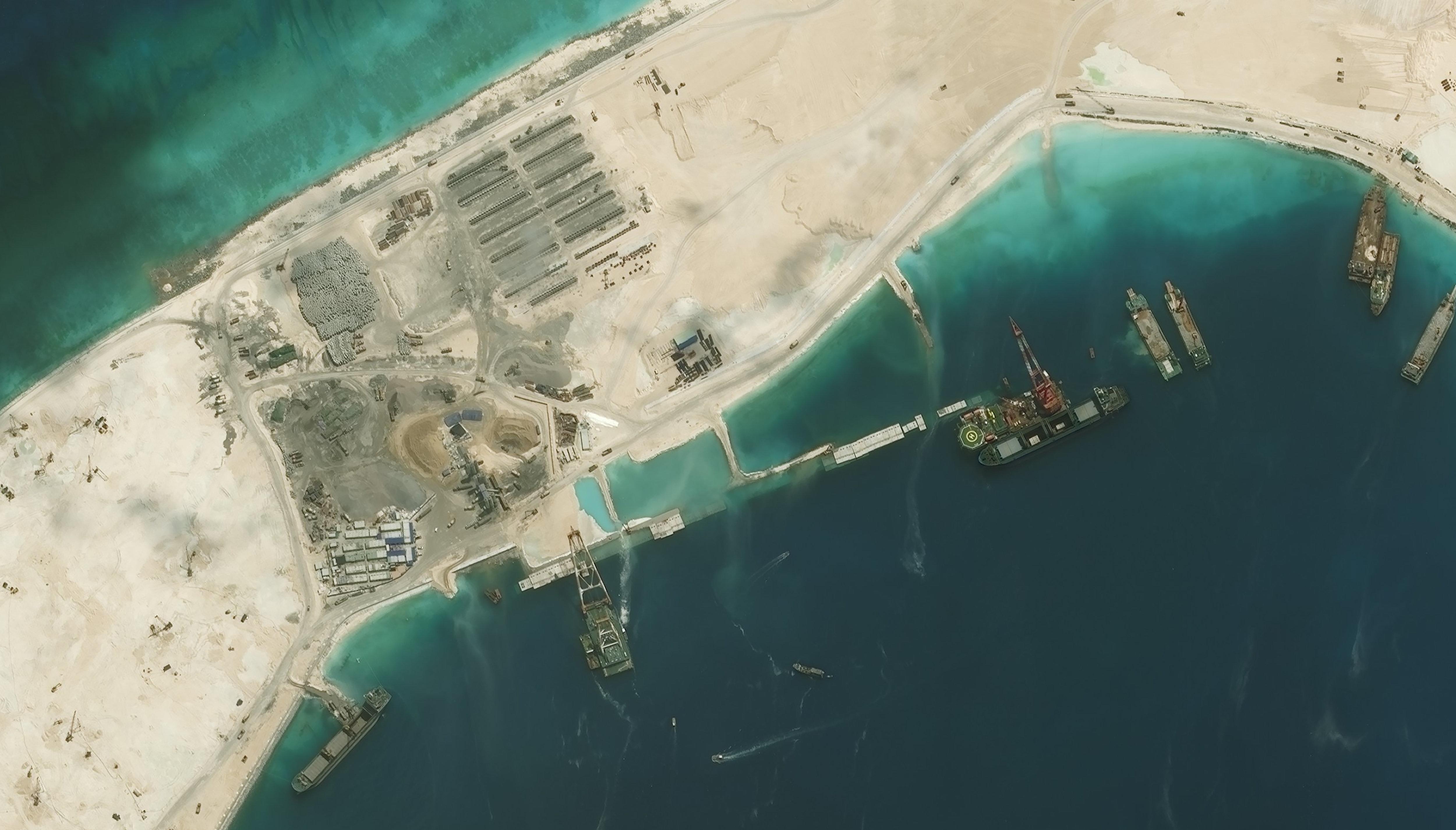 SUBI REEF, SOUTH CHINA SEA - AUGUST 1, 2015:  DigitalGlobe imagery of the Subi Reef in the South China Sea, a part of the Spratly Islands group.  Close up image 2 of 2.  Photo DigitalGlobe via Getty Images.