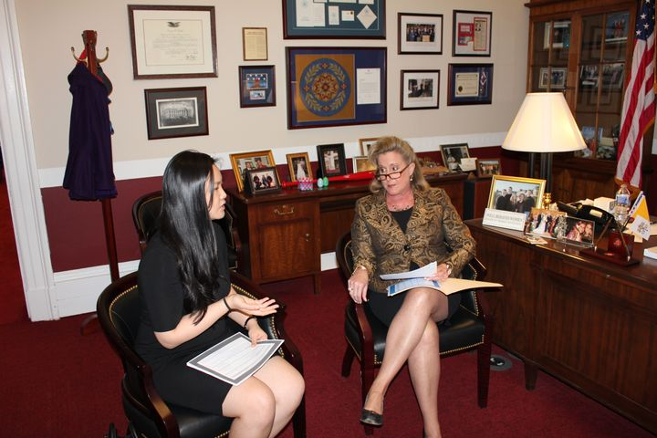 Amanda Nguyen meets with Rep.Ann Wagner (R-Mo.) in Washington, D.C., as part of lobbying in favor of a rape victims' bi