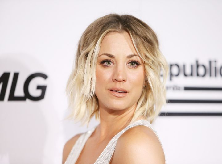 Kaley Cuoco arrives at the Republic Records private GRAMMY celebration on Feb. 15, 2016 in West Hollywood, California.