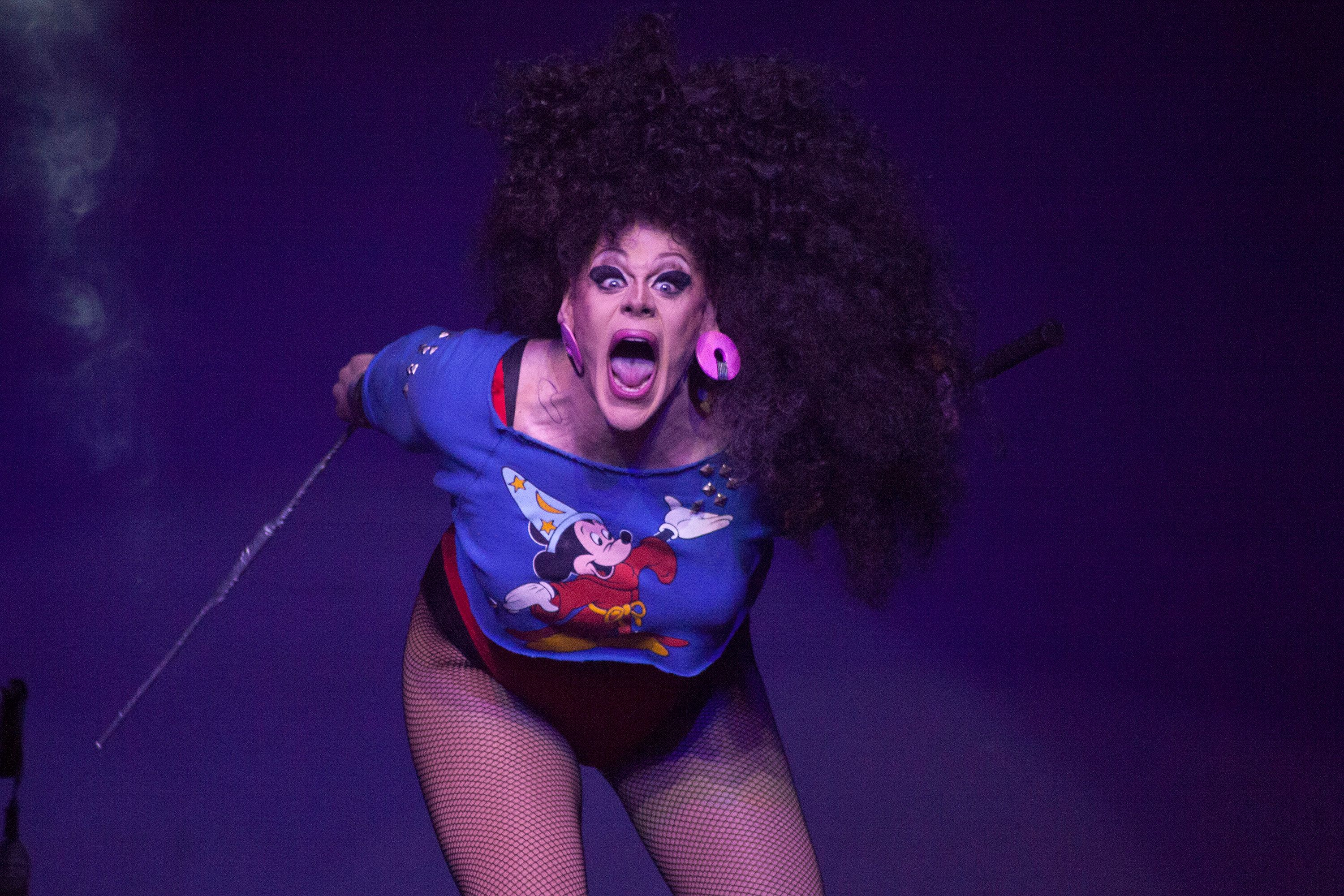 NEW YORK, NY - FEBRUARY 22:  Thorgy Thor performs onstage during Logo's 'RuPaul's Drag Race' Season 8 Premiere at Stage 48 on February 22, 2016 in New York City.  (Photo by Santiago Felipe/Getty Images)