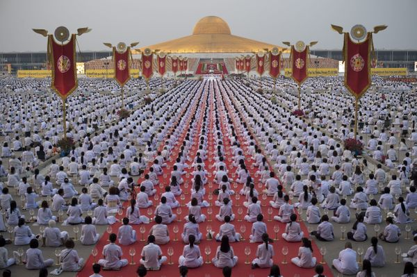 Hundreds of devotees gathered to meditate during the festival.