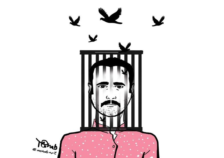 "An illustration of Ahmed Naji by Egyptian artist Mohab, published on&nbsp;<a href=""http://za2ed18.com/"" target=""_blank"">za2ed18.com</a>."