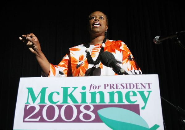 "<a href=""http://www.biography.com/people/cynthia-mckinney-377842"" target=""_blank"">Cynthia McKinney</a> secured a presidential"
