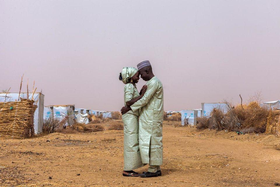 Newlyweds Ibrahim and Hauna John embrace in the Minawao camp for Nigerian refugees in Far North Region...