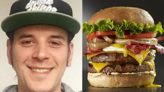 Bacon Double Cheeseburger (left) changed his name from Simon Smith last year after a night of drinking.