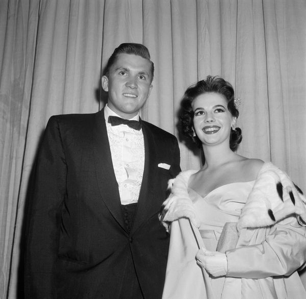 Actress Natalie Wood and date attend the 29th Academy Awards in Los Angeles, California, on March 27, 1957.