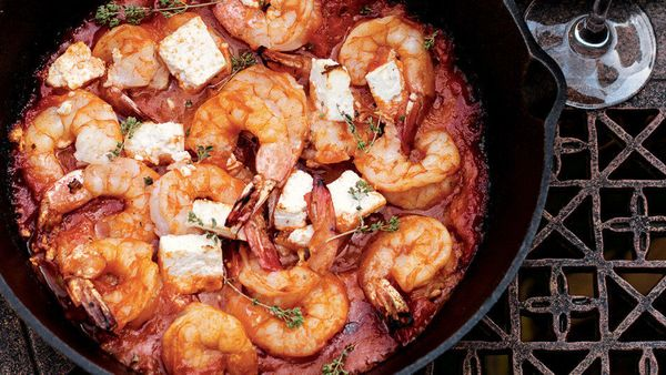 Subtly sweet-tasting shrimp and tangy feta are such a natural match that you don't need to do much to make them taste great t