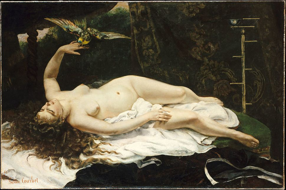 "Gustave Courbet, ""Woman with a Parrot Date,"" 1866, oil on canvas, 129.5 × 195.6 cm (51 × 77 in), Metrop"