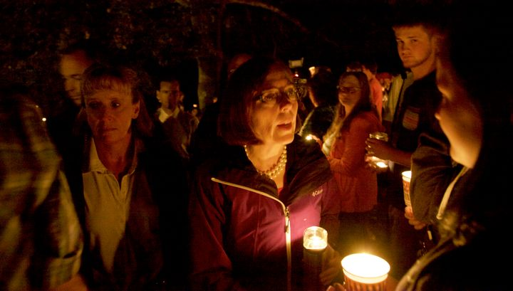 Brown attended a candlelight vigil for the victims of a shooting at Umpqua Community College in Roseburg, Oregon.