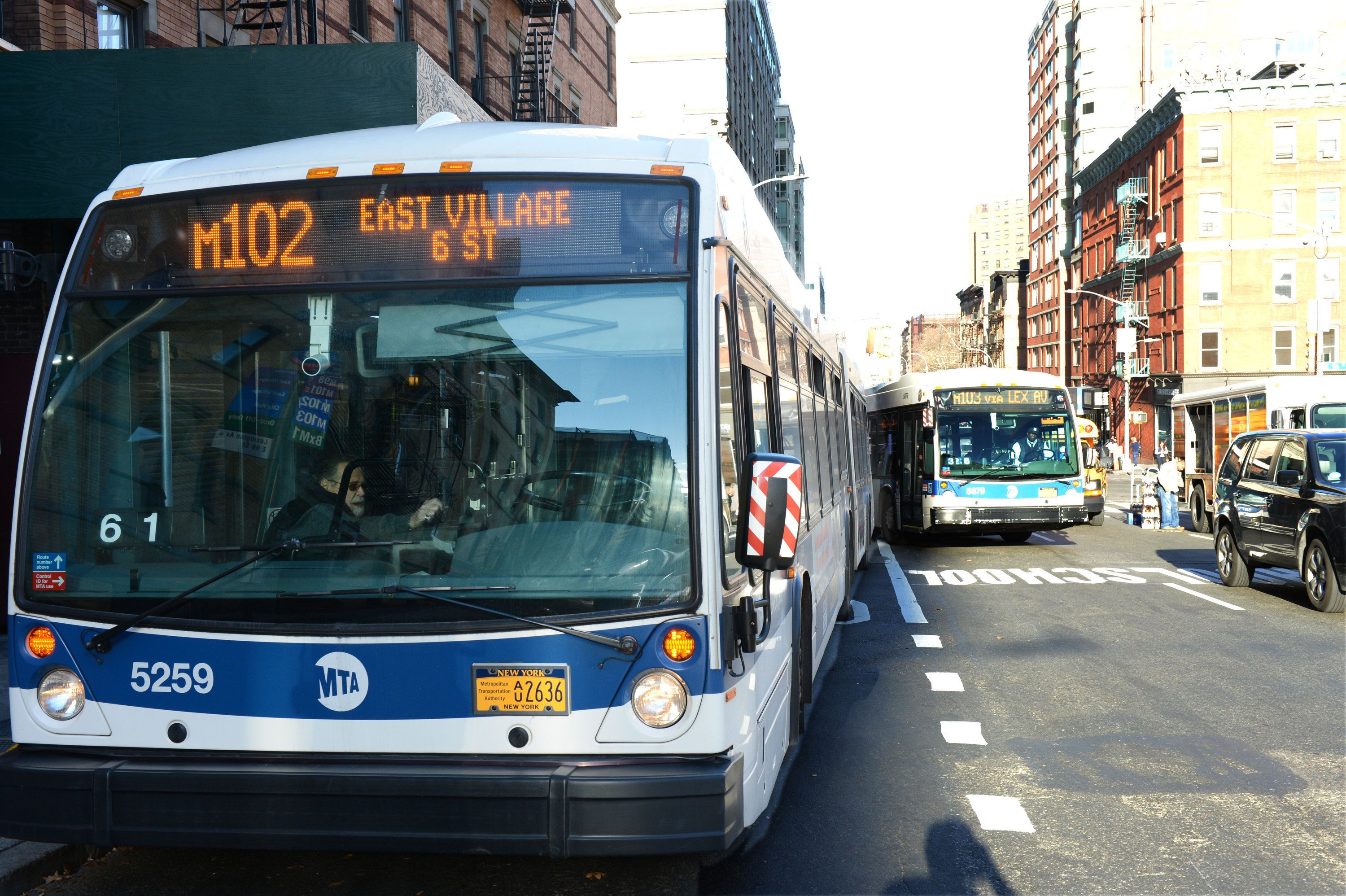 M102 MTA Bus and M103 Bus on Lexington Ave. near E 95 St. in Manhattan on Tuesday, December 15, 2015. (Photo by Andrew Savulich/NY Daily News via Getty Images)