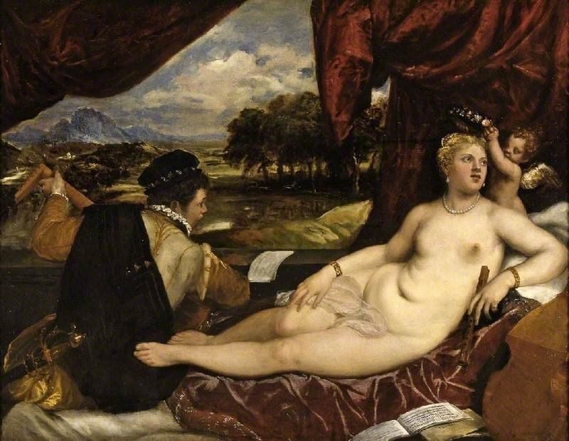 "Titian, ""Venus and the Lute Player,"" Venus and the Lute Player, circa 1555–65, oil on canvas, 150.5"