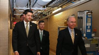 WASHINGTON, DC - OCTOBER 21:  (L-R) House Ways and Means Committee Chairman Paul Ryan (R-WI), House Committee on Financial Services Committee Chairman Jeb Hensarling (R-TX) and House Budget Committee Chairman Tom Price (R-GA) arrive for a House Republican caucus meeting in the U.S. Capitol on October 21, 2015 in Washington, DC. Ryan has said he is willing to be the next Speaker of the House if all House Republicans endorse him for the position.  (Photo by Chip Somodevilla/Getty Images)