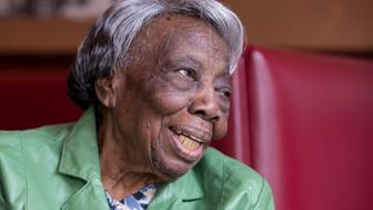 WASHINGTON, DC - FEBRUARY 22:  106 year-old Virginia McLaurin in Busboys and Poets on Feb 22, 2016 in Washington, DC.  A video of McLaurin dancing with President and First Lady Obama last week at the White House went viral on the Internet.  (Photo by Kate Patterson for The Washington Post via Getty Images)