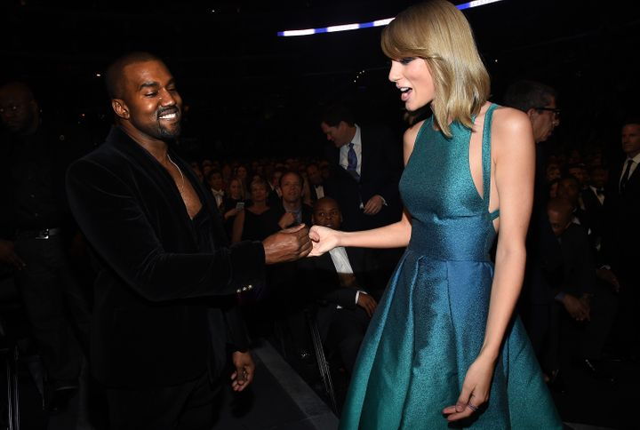 Recording Artists Kanye West and Taylor Swift attend The 57th Annual GRAMMY Awards at the STAPLES Center on February 8, 2015
