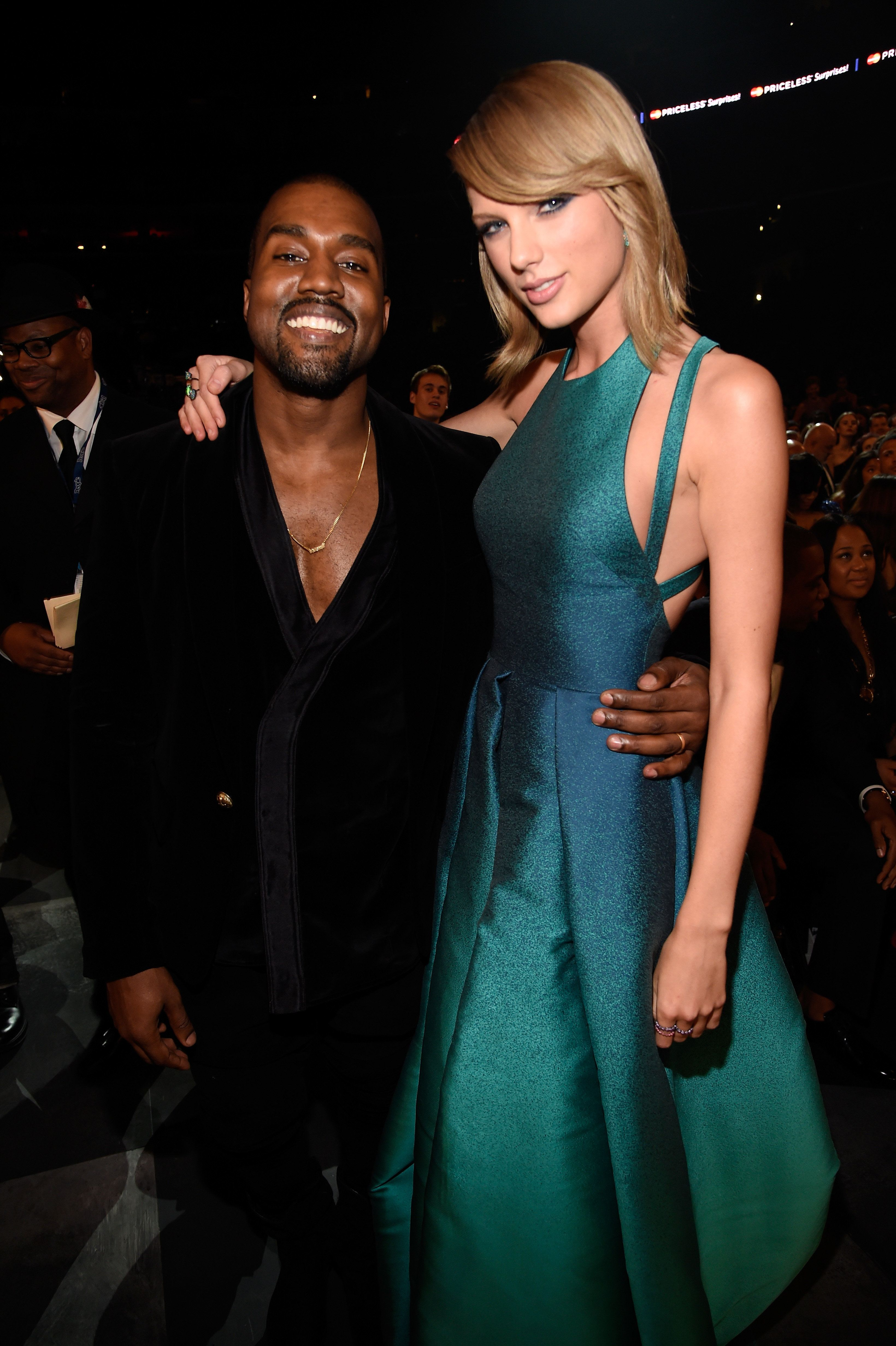 LOS ANGELES, CA - FEBRUARY 08:  Kanye West and Taylor Swift attend The 57th Annual GRAMMY Awards at STAPLES Center on February 8, 2015 in Los Angeles, California.  (Photo by Kevin Mazur/WireImage)