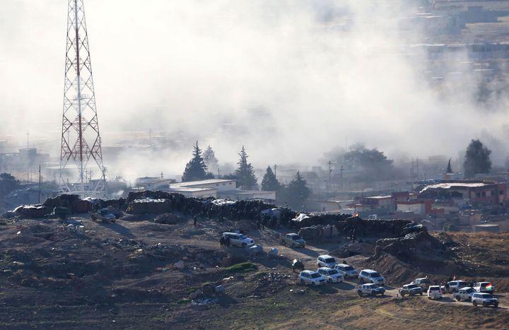 Smoke rises after Kurdish forces battle Islamic State militants on November, 12.A 16-year-old Swedish girlrescued
