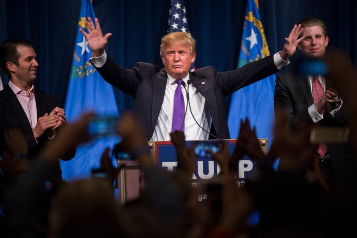 Donald Trump speaks during a campaign watch party in Las Vegas on the day of the Nevada Republican caucuses, Feb. 23, 2016.