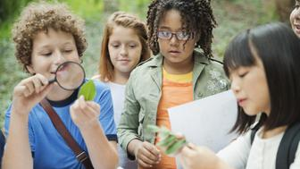 Boy looking at leaf through magnifying glass while standing with friends at table