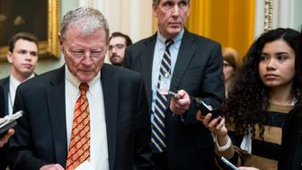 UNITED STATES - JANUARY 13: Sen. James Inhofe, R-Okla., speaks with reporters as he arrives for the Senate Republicans' policy lunch in the Capitol on Tuesday, Jan. 13, 2015. (Photo By Bill Clark/CQ Roll Call)
