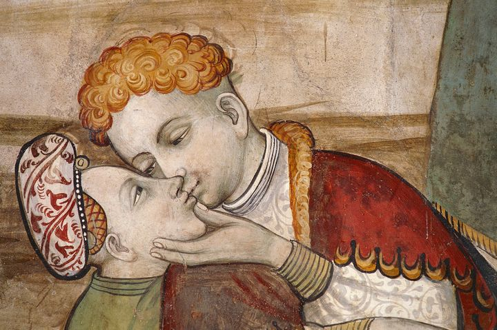 Italian frescoes that date from around the 15th century. Don't get too frisky, guys.