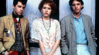 Jon Cryer, Molly Ringwald and Andrew McCarthy on set of the film 'Pretty In Pink', 1986. (Photo by Paramount/Getty Images)