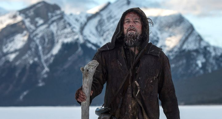 Actor Leonardo DiCaprio treks through the wilderness.
