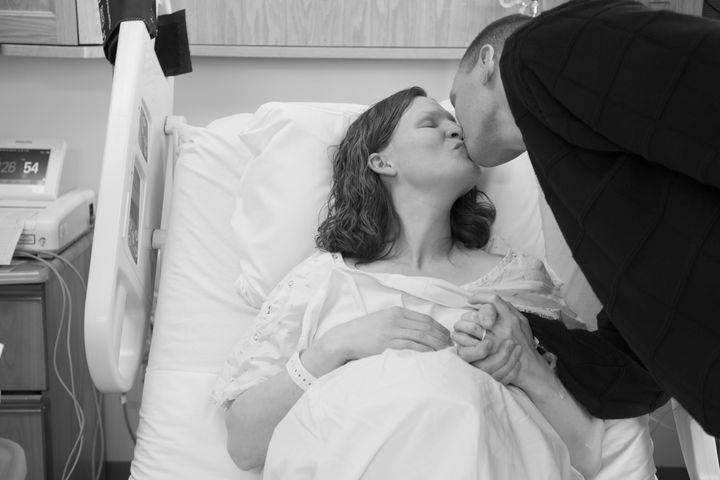 Haynie and her husband in the delivery room.